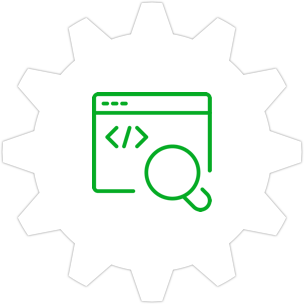 Icon: A desktop screen,code brackets and a magnifying glass with a gear symbol in the background.