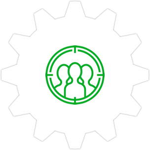 Icon: A telescope outlining three silhouettes with a gear symbol in the background.
