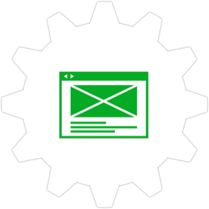 Icon: A wireframe with a gear symbol in the background.