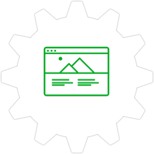 Icon: A mockup with a gear symbol in the background.