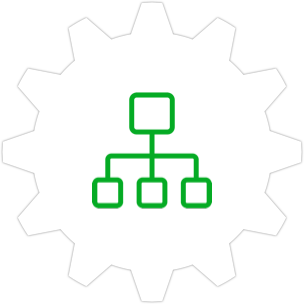 Icon: A flat architecture sitemap with a gear symbol in the background.