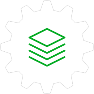 Icon: Several boxes with a gear symbol in the background.