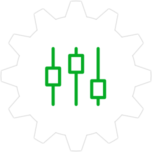 Icon: Adjustment controls with a gear symbol in the background.