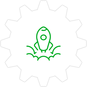 Icon: A spaceship launching with a gear symbol in the background.