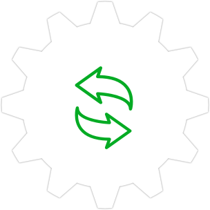 Icon: Two arrows with a gear symbol in the background.