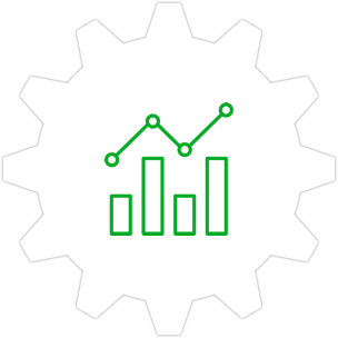 Icon: Graph with a gear symbol in the background.