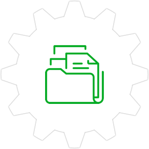 Icon: Folder and document with a gear symbol in the background.