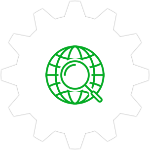 Icon: Globe and a magnifying glass with a gear symbol in the background.