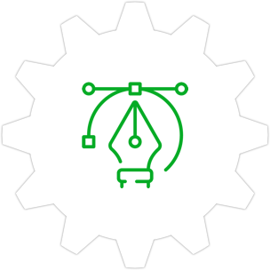 Icon: A designer's pen tool with a gear symbol in the background.