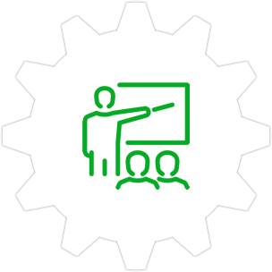 Icon: Person teaching two students with a gear symbol in the background.