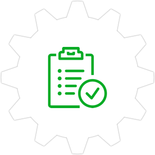 Icon: Checklist on a clipboard with a gear symbol in the background.