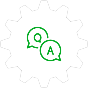 Icon: Two speech bubbles with a gear symbol in the background.