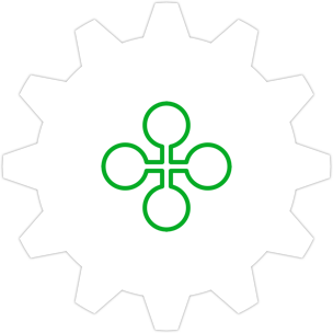 Icon: A cross with four bubbles as end-points and a gear symbol in the background.