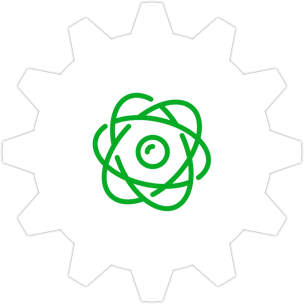 Icon: The symbol for an atom with a gear symbol in the background.