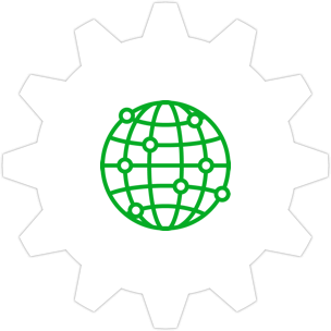 Icon: Globe with a gear symbol in the background.