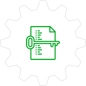 Icon: A list of words and a key in the foreground with a gear symbol in the background.