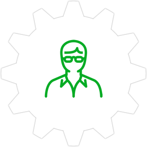 Icon: A person wearing glasses with a gear symbol in the background.
