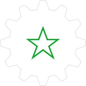 Icon: A start with a gear symbol in the background.