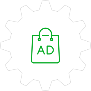 "Icon: A shopping bag that says ""Ad"" with a gear symbol in the background."