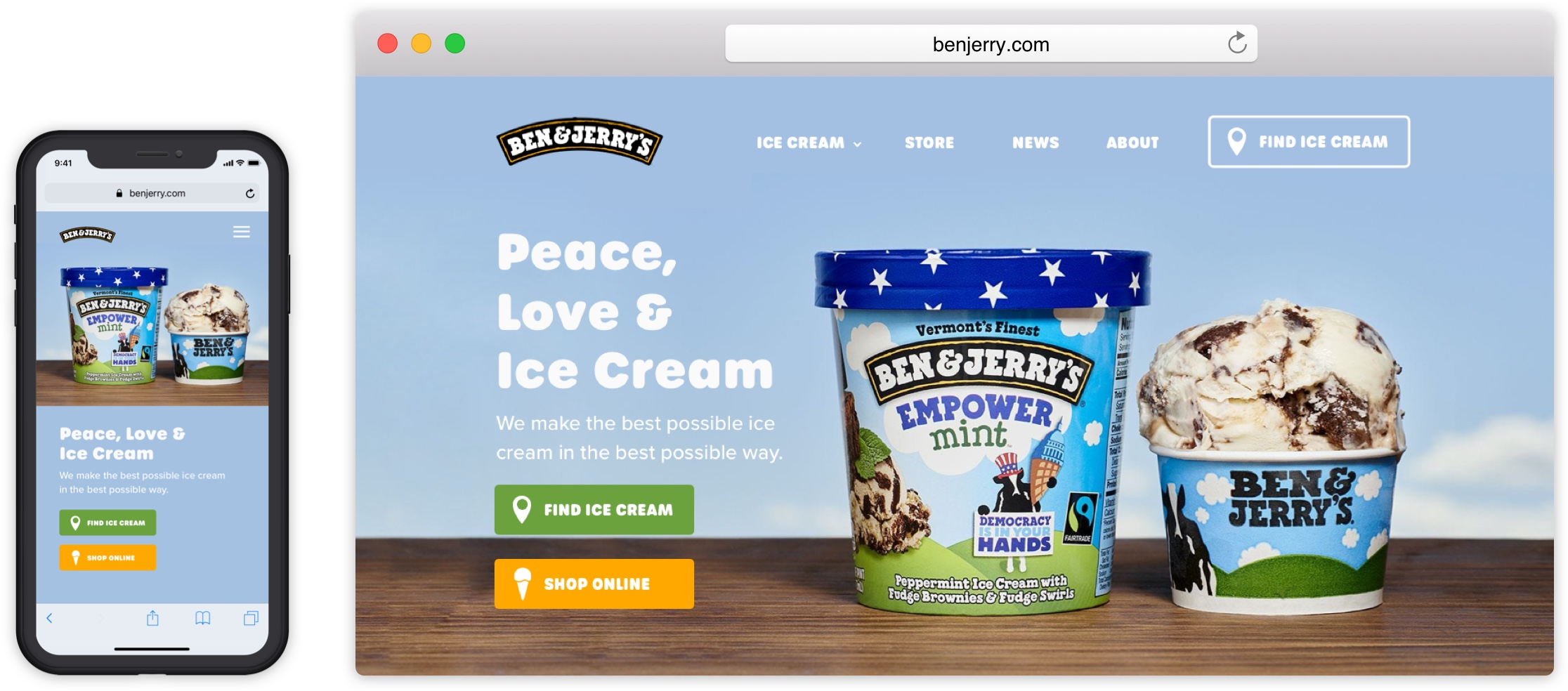 Mobile and desktop screens of a Ben & Jerry's redesign.