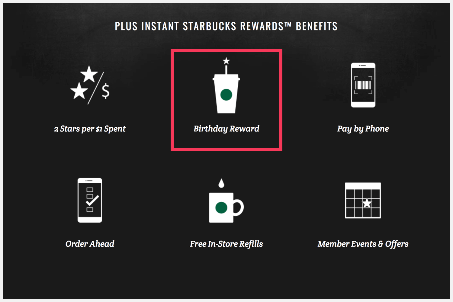 Startbuck' Rewards' webpage with a red square around the free drink on your birthday.