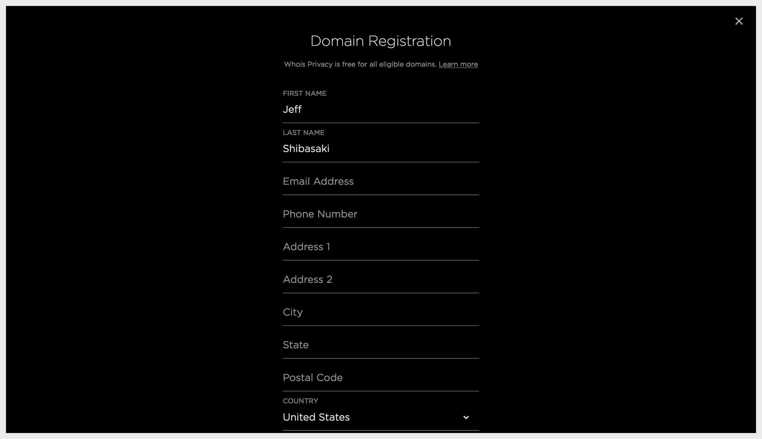Squarespace Domain's webpage – adding Whois Privacy information