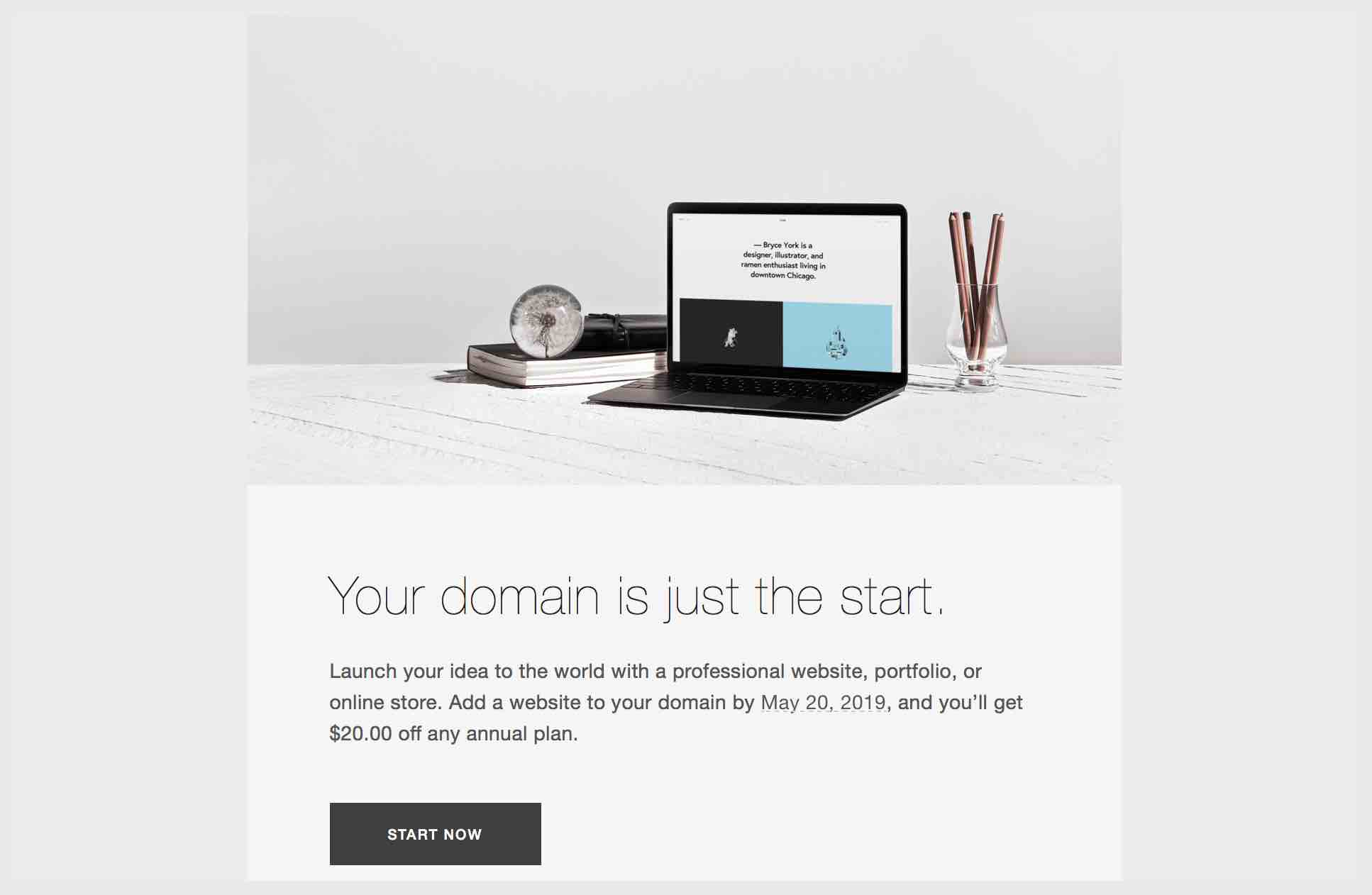 Laptop and a message from Squarespace to add a website to your domain name