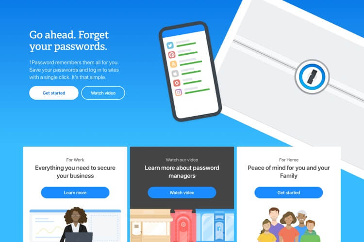 1Password homepage that shows their logo and a smartphone with a illustration of the 1Password app