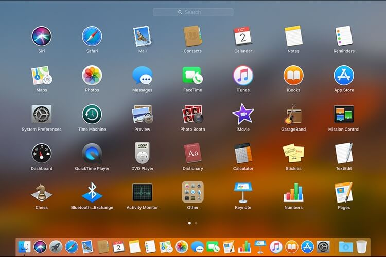 Launchpad on macOS, showcasing a grid of applications, including the Dictionary app