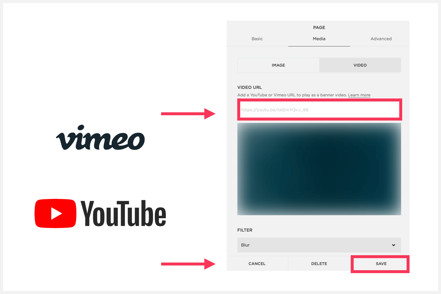 Where to add the video URL on Squarespace