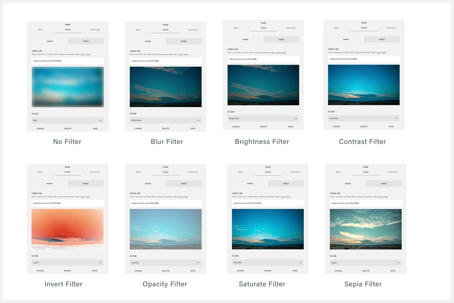 The 8 filters that are available for background video on Squarespace