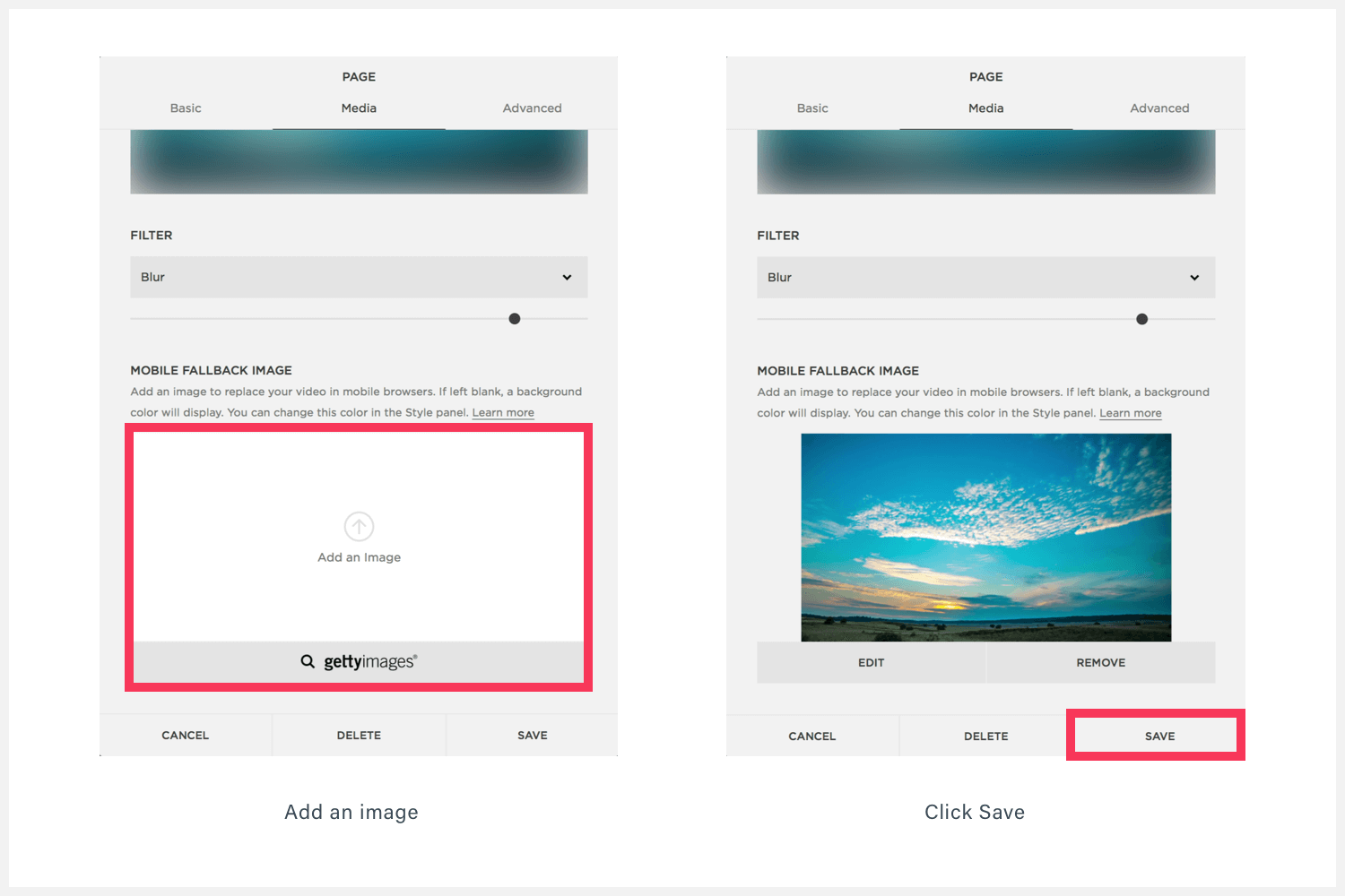 how to add a mobile fallback image on Squarespace