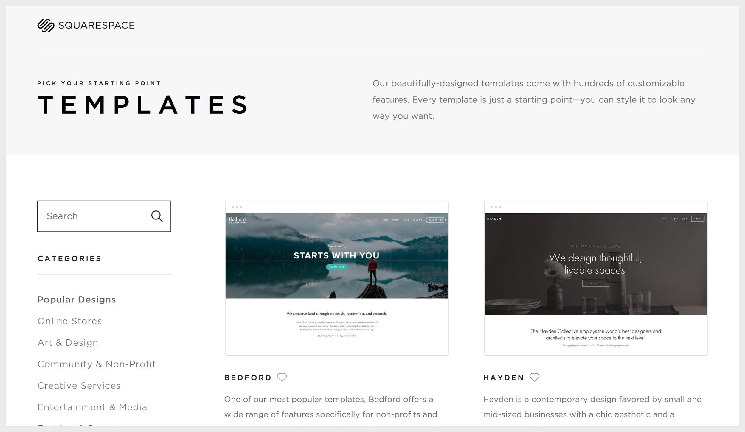 Squarespace's template categories