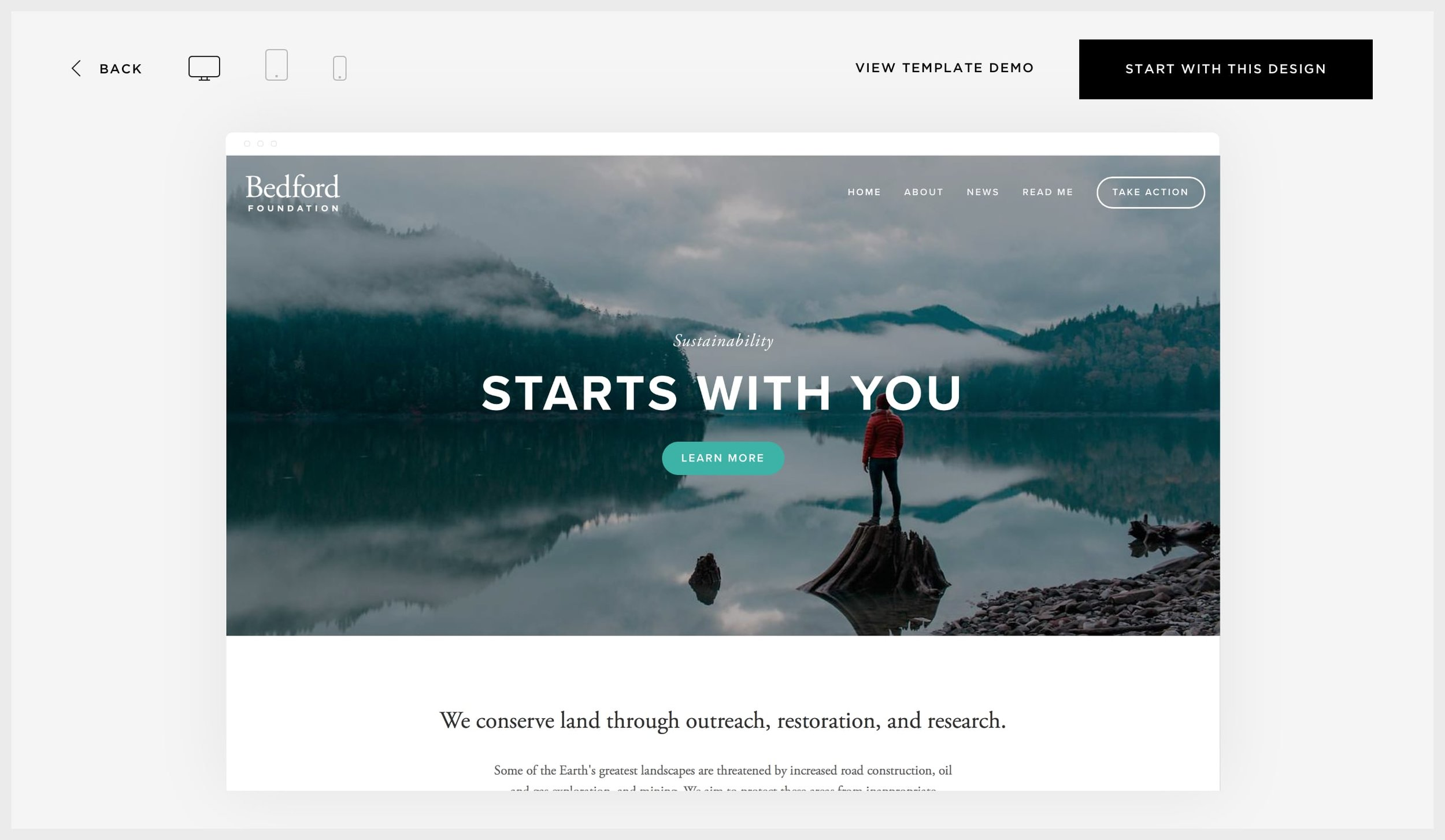Squarespace's template preview