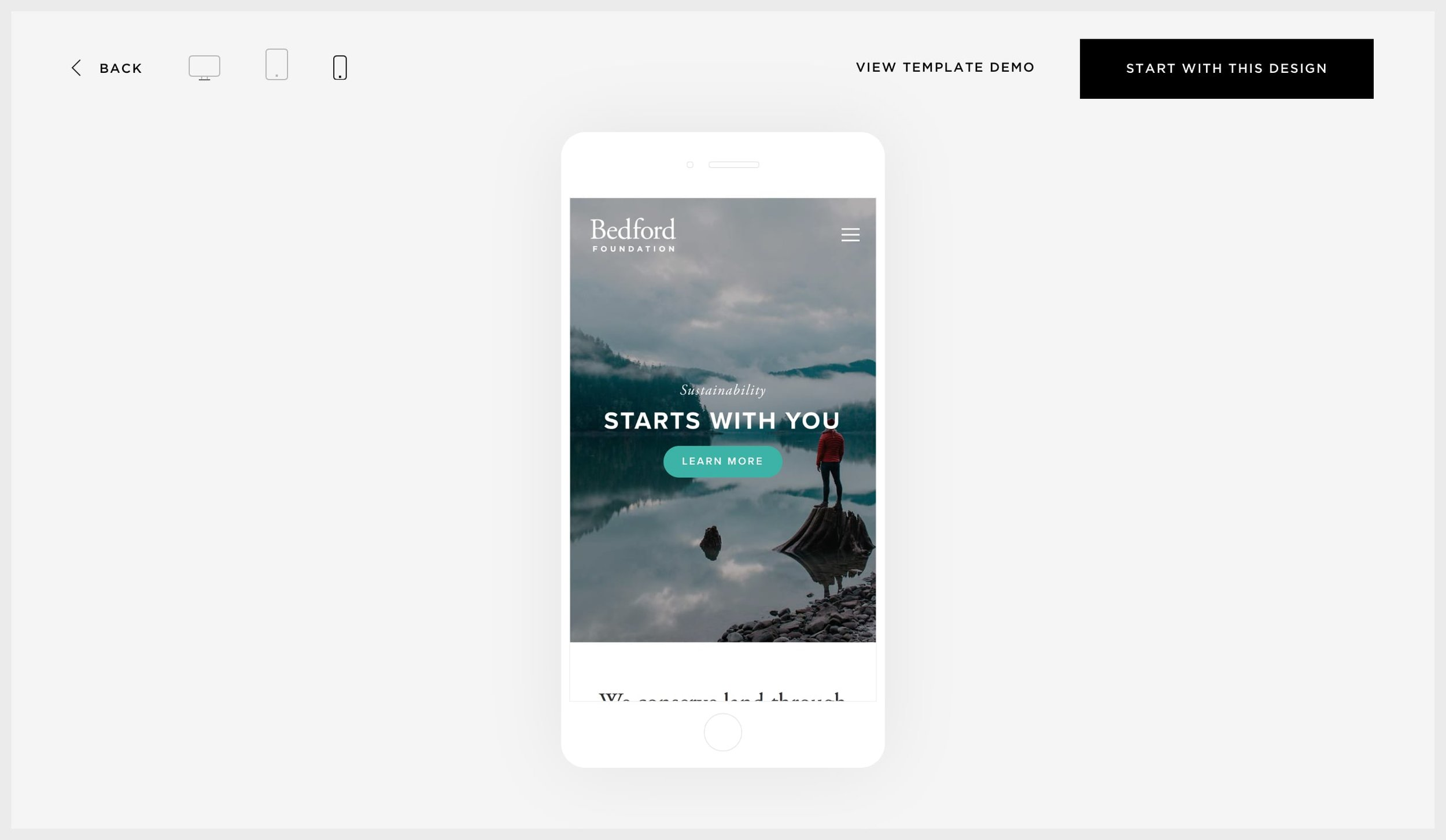 Squarespace's alternative previews for tablet and mobile devices