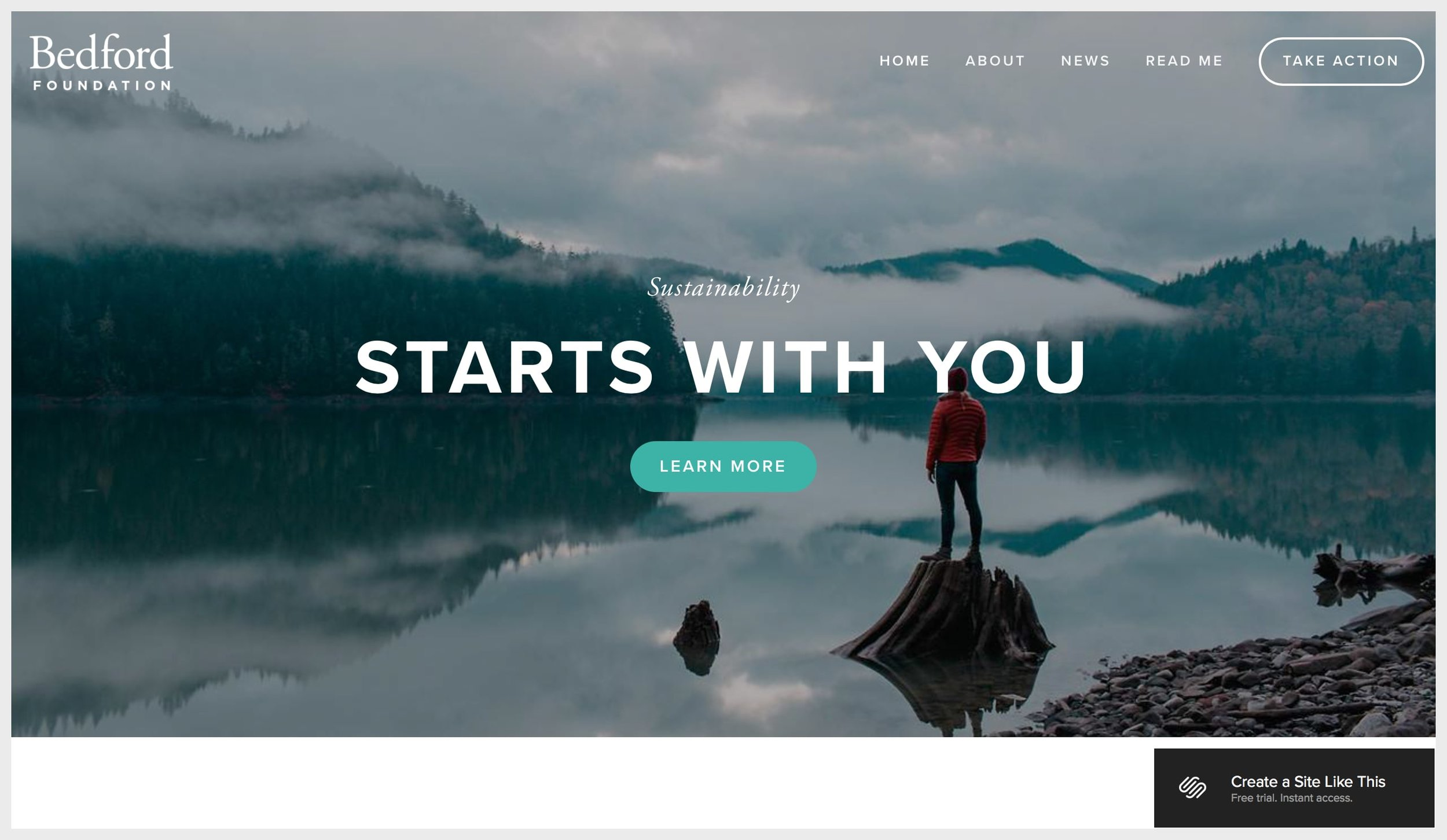 Squarespace's live preview of a template