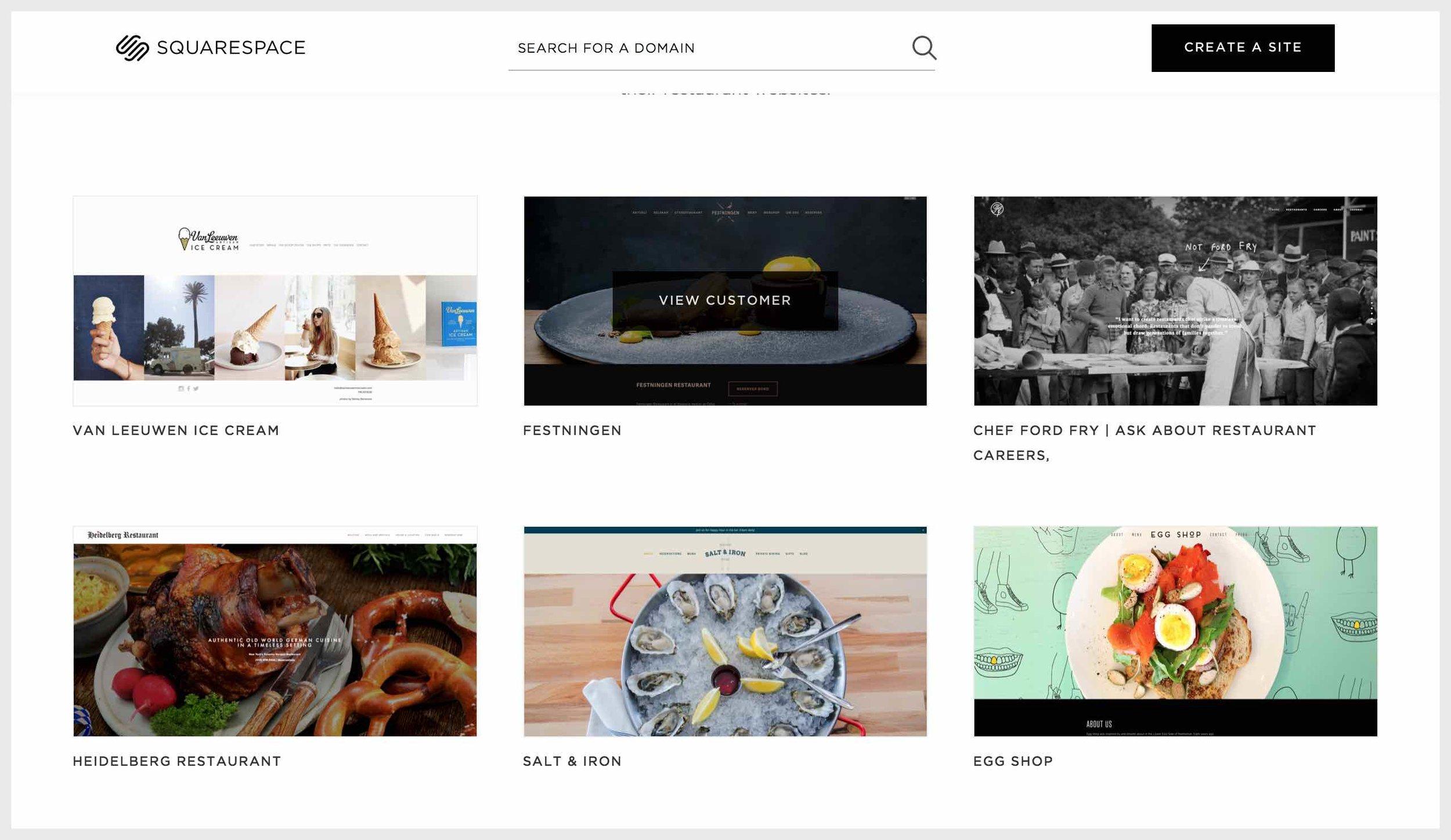 Squarespace's customer websites