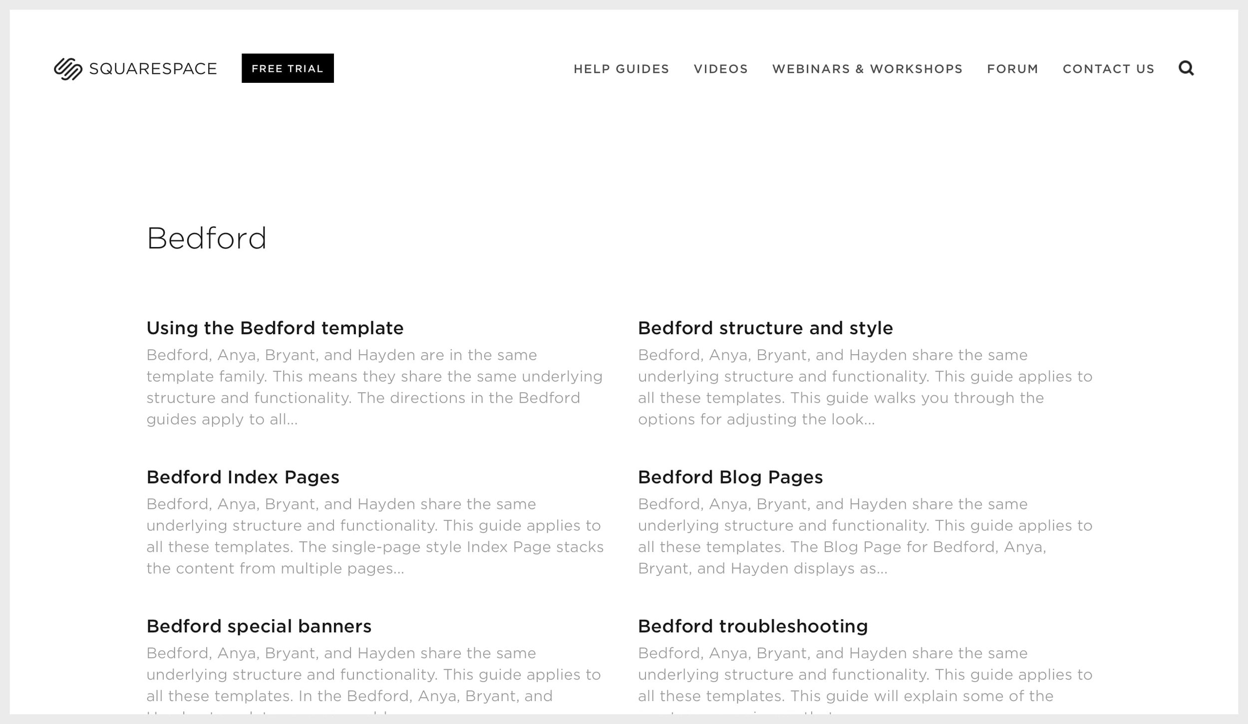 Squarespace's template guides