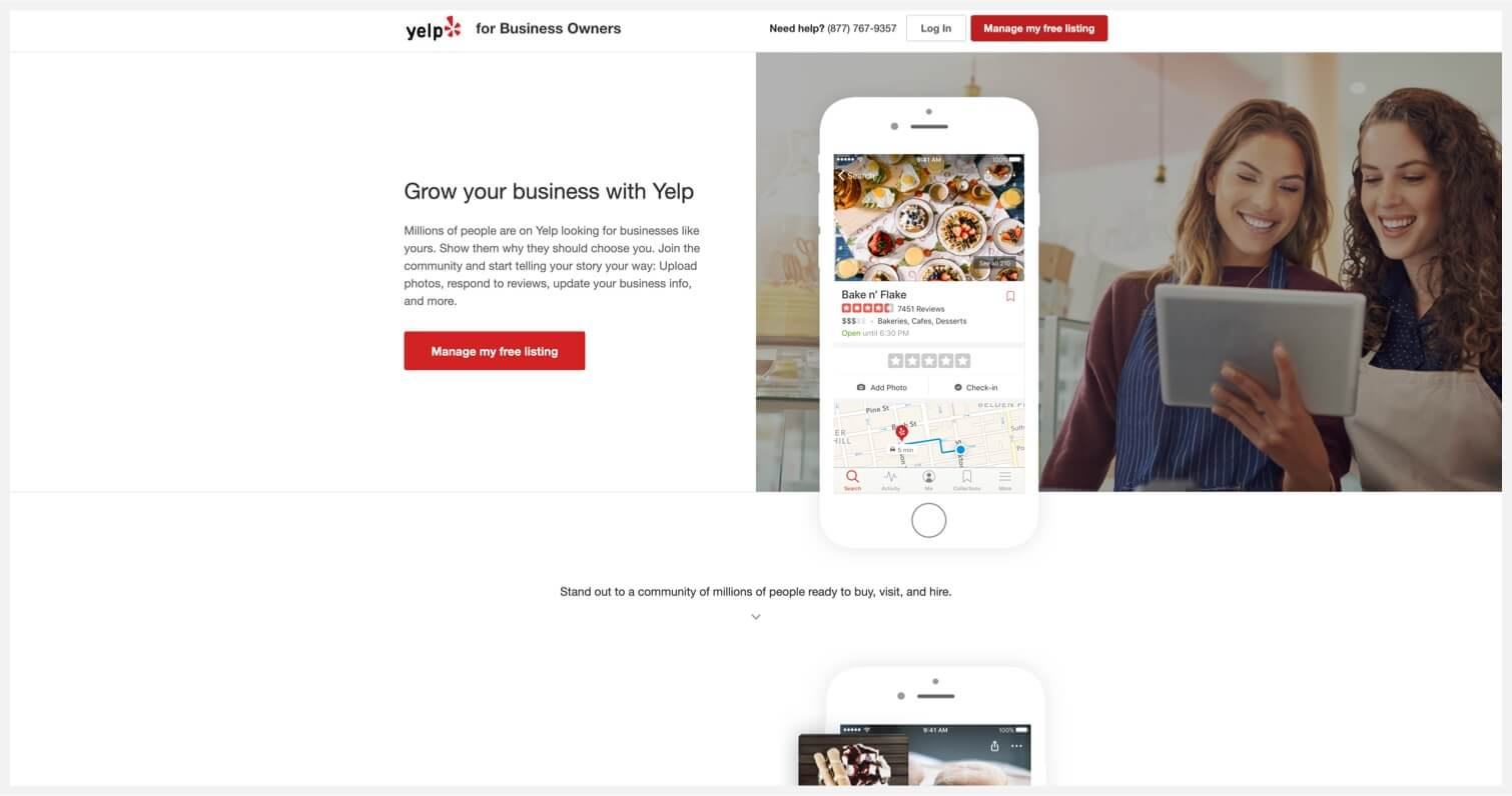 Yelp for Business Owners webpage