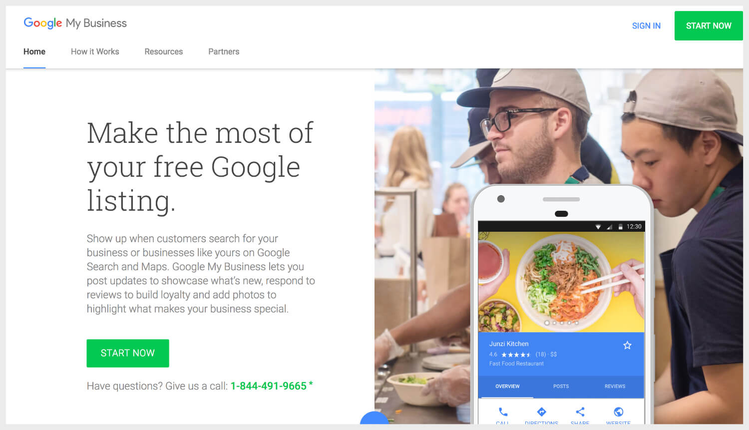 Google My Business' homepage