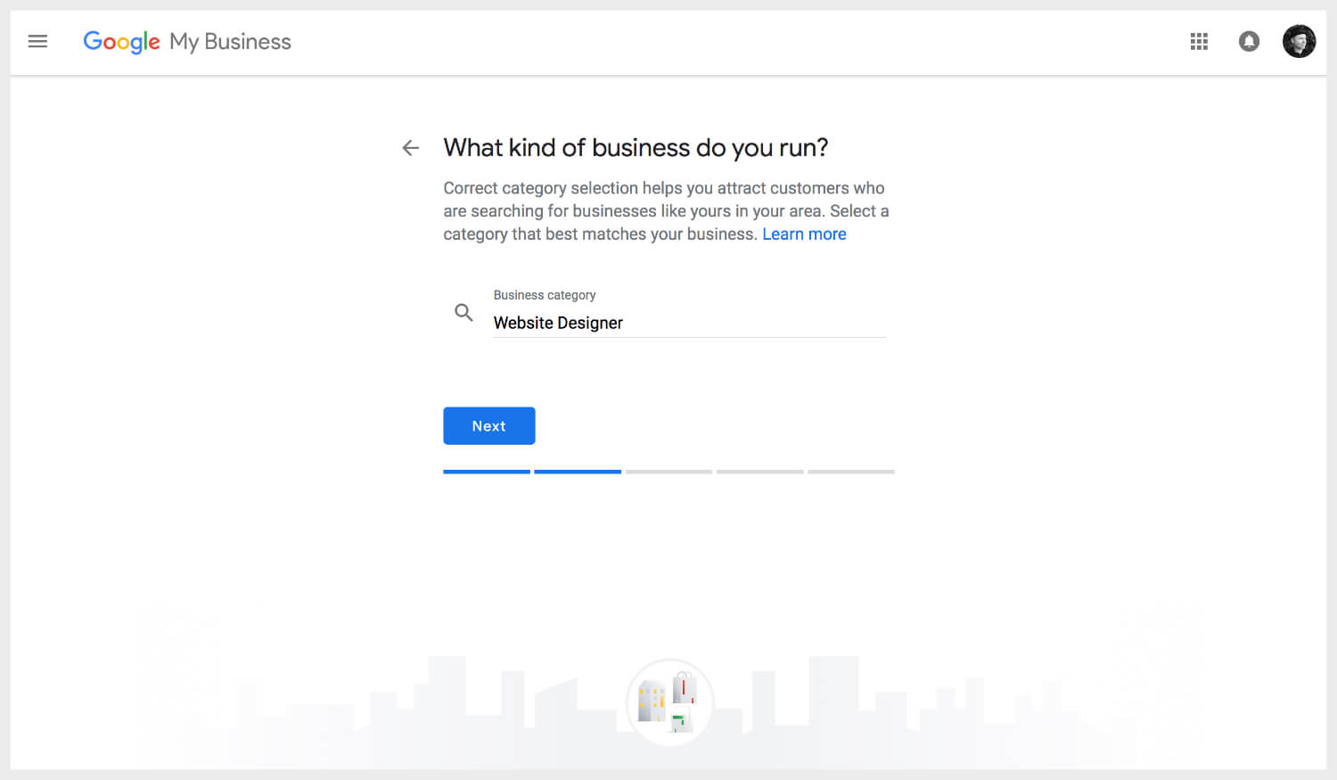 Adding business category on Google My Business