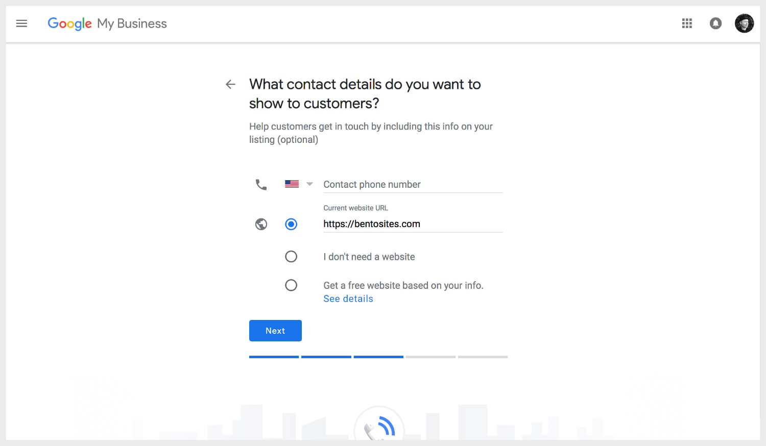 Adding contact details on Google My Business