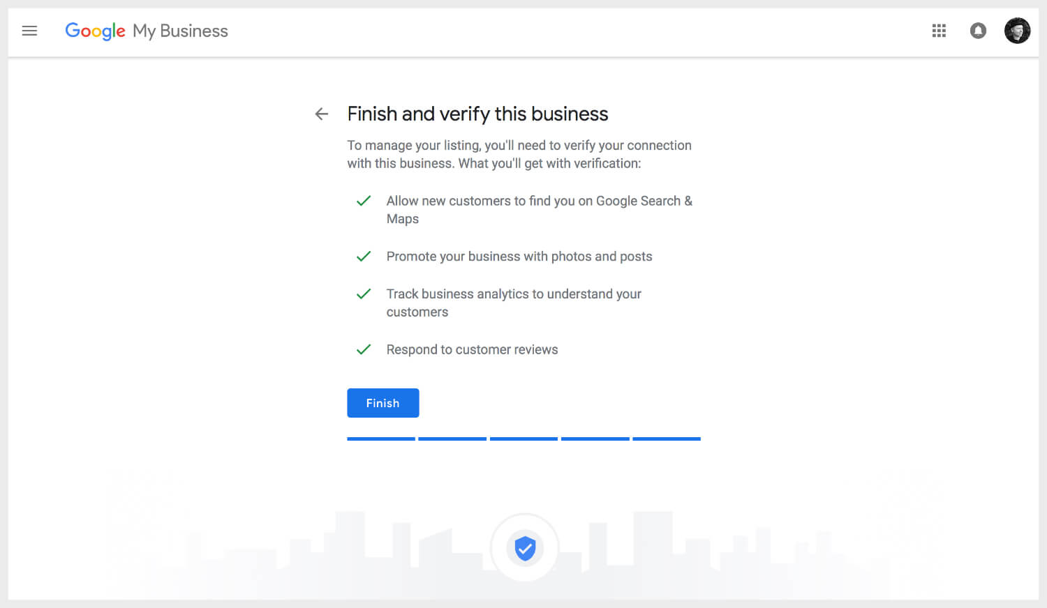 Finishing and verifying business listing on Google My Business