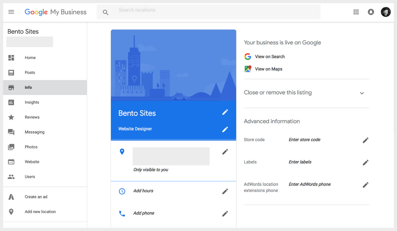 Google My Business backend dashboard