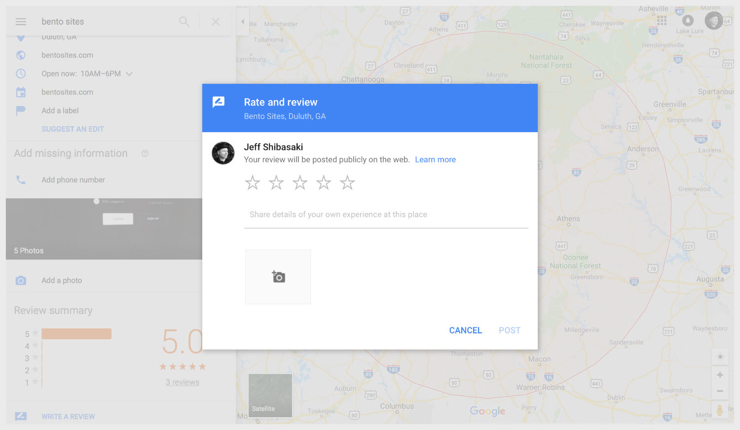 Rating and reviewing a business on Google Maps