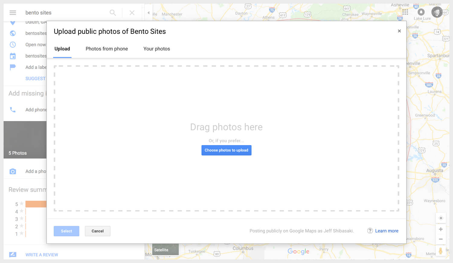 Uploading public photos of a business on Google Maps