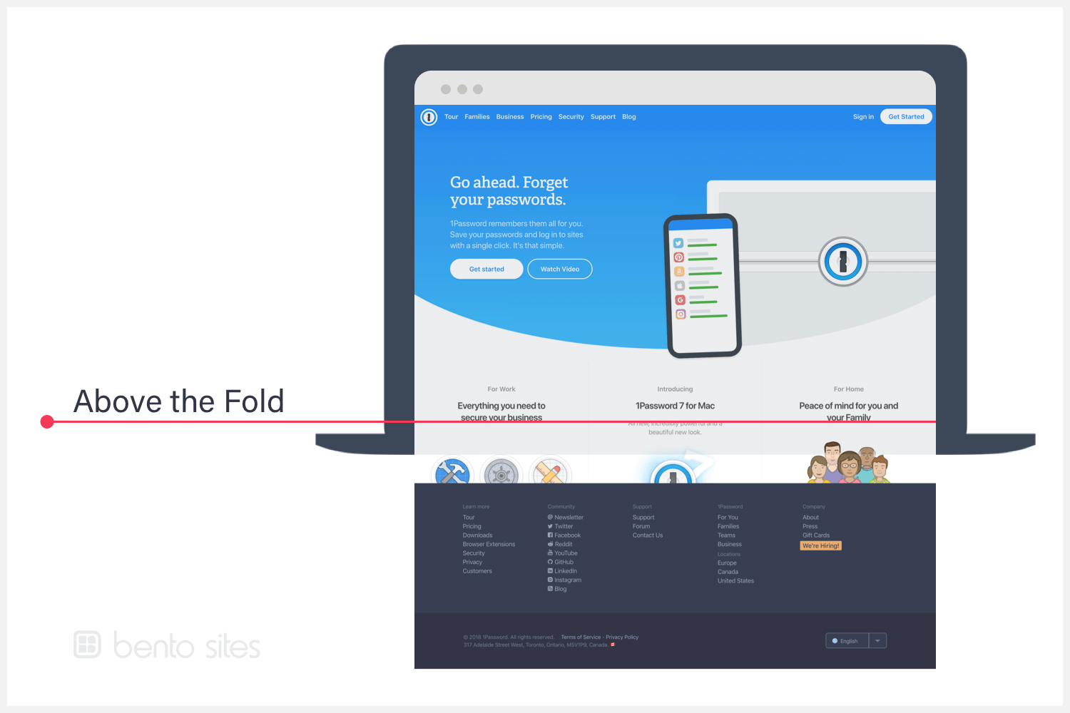 Laptop computer that illustrates the section of 1Password's homepage that's above the fold