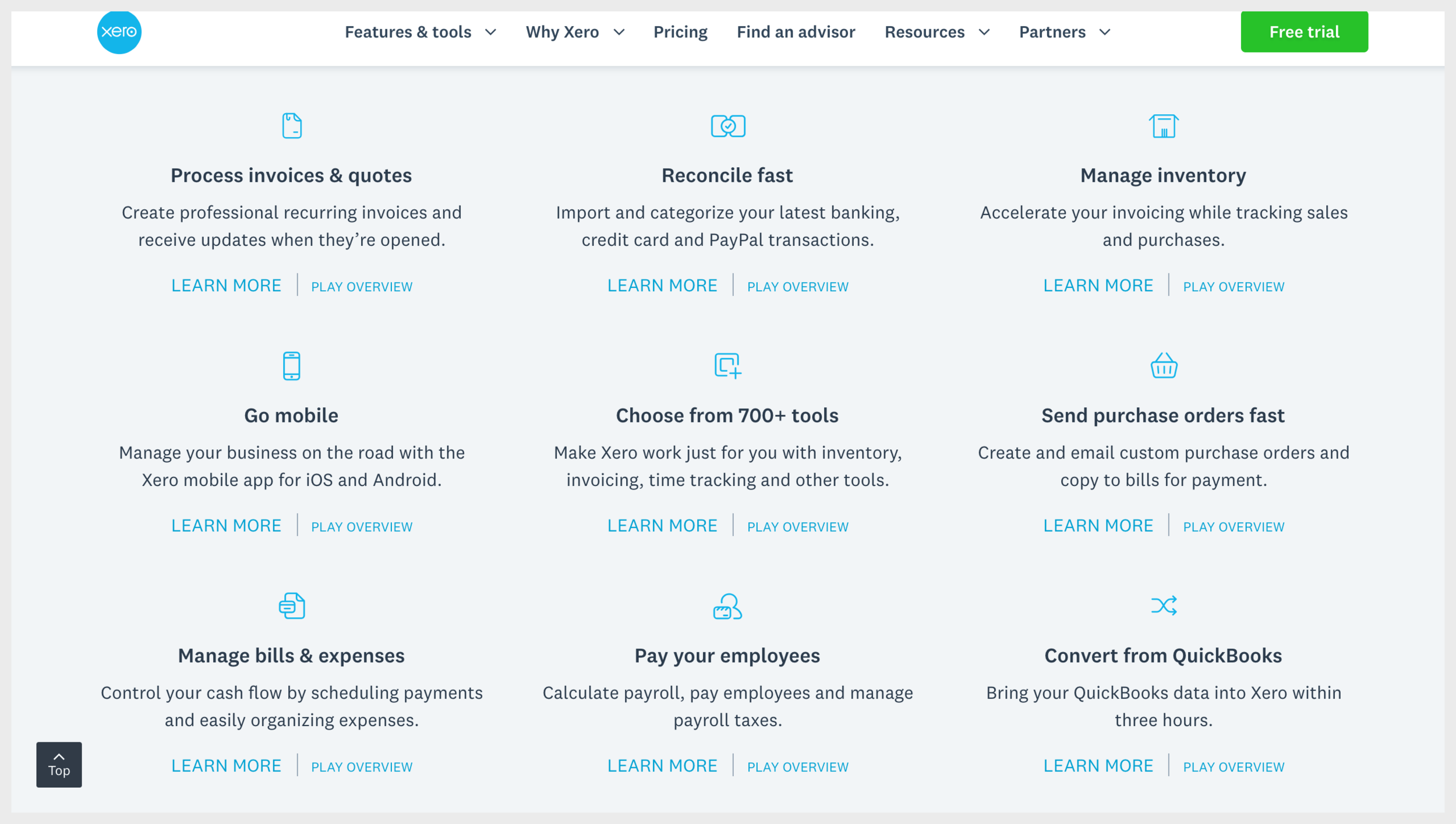 Xero's homepage with several secondary calls to action in the middle of the page
