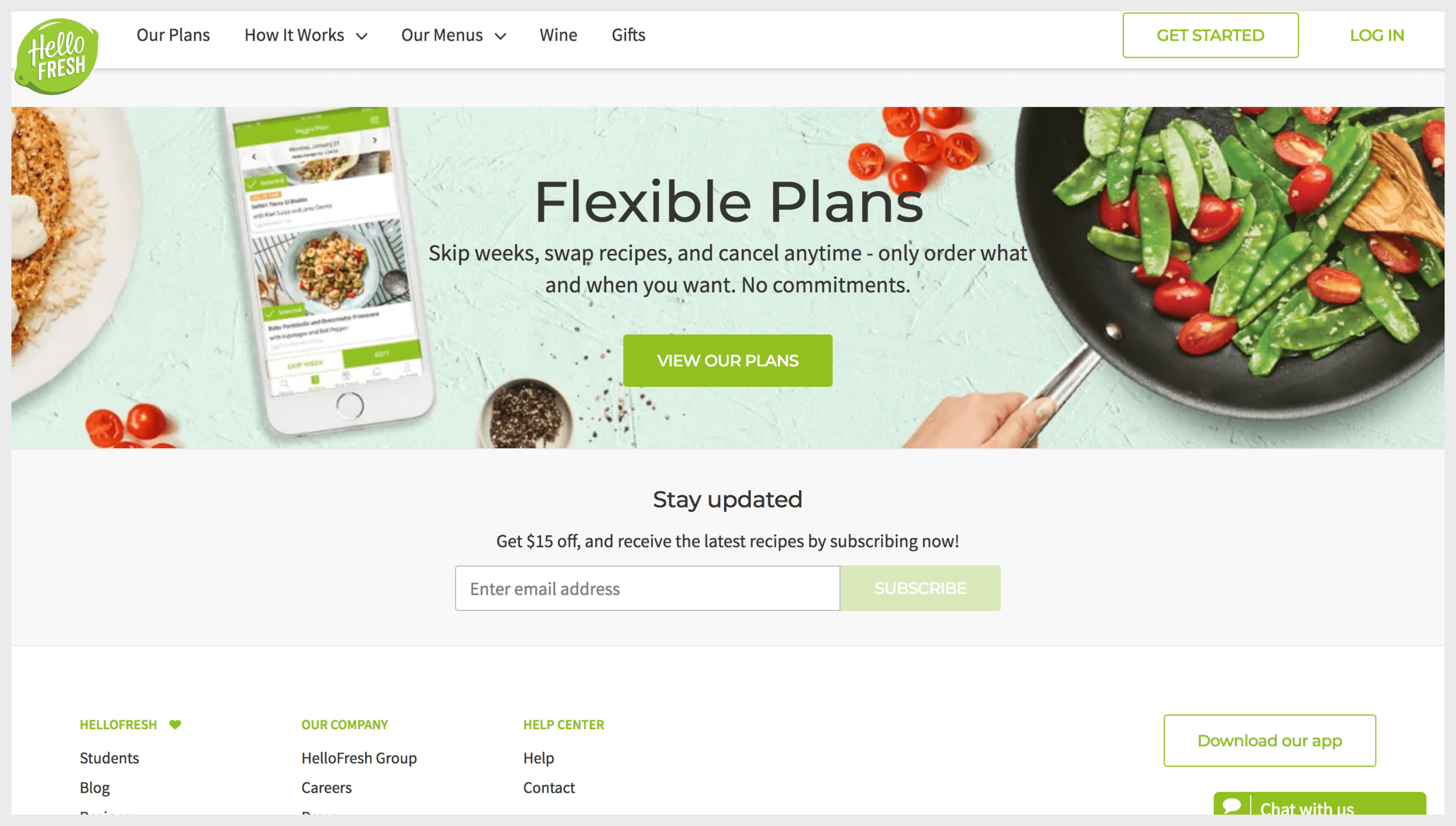 Hello Fresh's homepage with a primary call to action at the bottom of the page