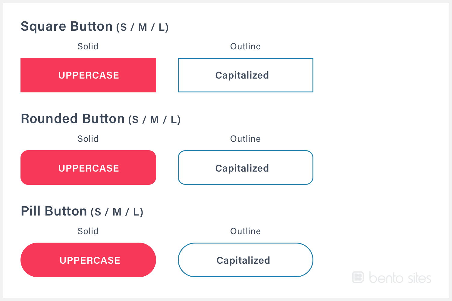 Square, rounded and pill-shaped buttons with a unique font and text color